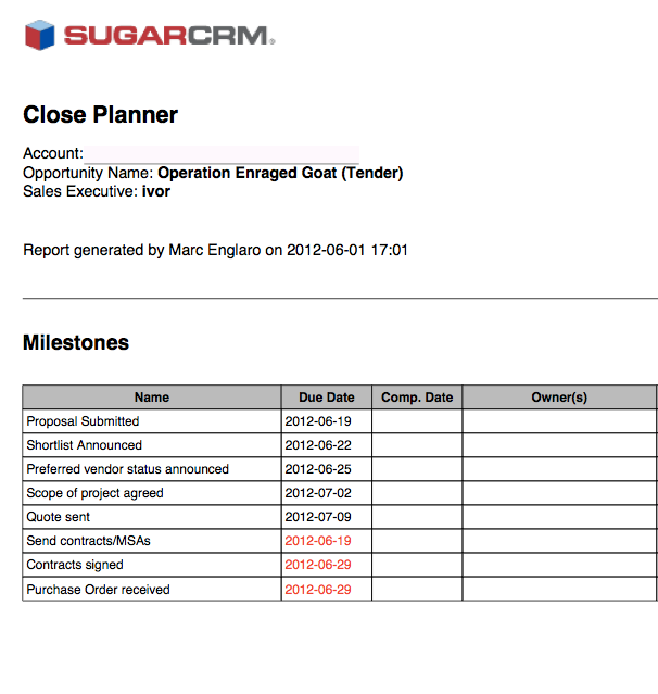 RSVP Close Planner generated by SugarCRM